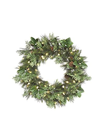 Napa Home & Garden Grand Mix Wreath With LED Lights, Green