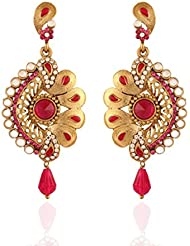 I Jewels Traditional Gold Plated Kundan Meenakari Earrings For Women E2091Q (Rani/Pink)