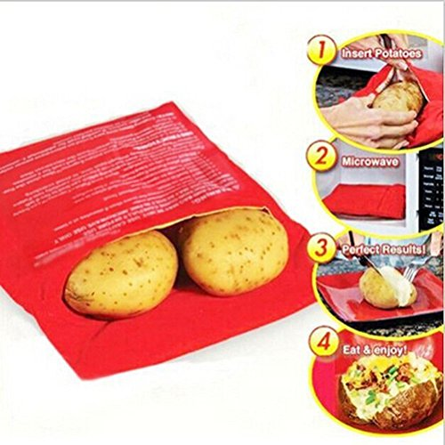 Microwave Baked Potato Bag-Great for Baking Food,Corn (Set of 3, Red) (Microwave Potato Sack compare prices)
