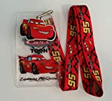 Pixar Cars Lightning McQueen Lanyard w/ Badge Holder and Charm