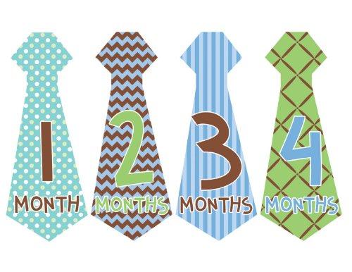 Necktie M159 Boy Baby Month Milestone Stickers 6.6x2.5inch
