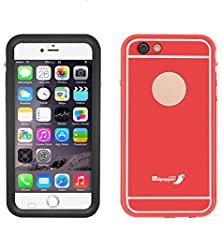 buy Aliglow [Metal Series] Ultra-Thin Waterproof Protective Case For Iphone 6/ Iphone 6S (4.7 Inch) Ip68 Underwater Shockproof Snowproof Dirtpoof Design With Built-In Clear Screen Protector (Red)