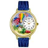 気球 ロイヤルブルーレザー ゴールドフレーム時計 #G1610010