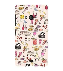 iFasho Modern Art Design Pattern girl shop car food bird Back Case Cover for Nokia Lumia 540