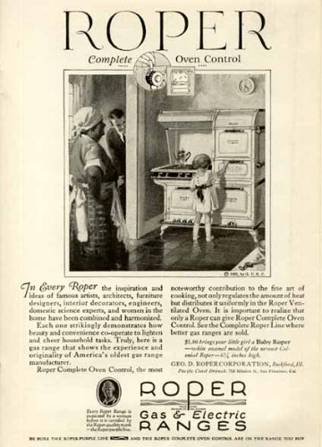 "Aunt Jemima-Like ""Mammy"" Figure In 1925 Roper Gas & Electric Range Ad Original Paper Ephemera Authentic Vintage Print Magazine Ad / Article"