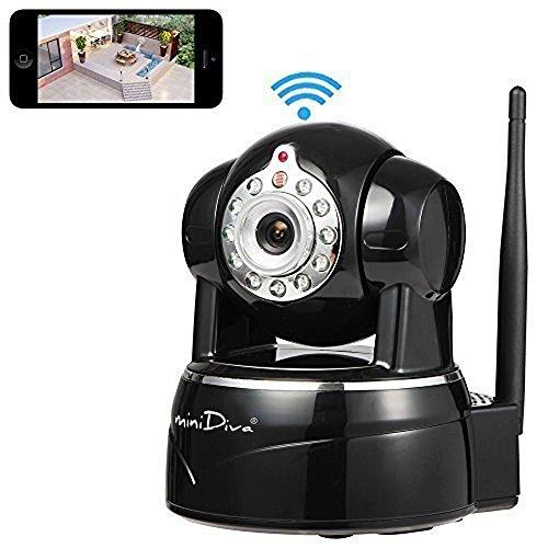 Minidiva® HD IP Kamera / Überwachungskamera / Sicherheitskamera / 720P ip cam für den Innenbereich mit Lan und WLAN / Wifi ( IR LED Infrarot Nachtsicht, PIR Wärmesensor, Weitwinkel, Mini SD Karte, Aufnahme, Bewegungserkennung, Audio,P2P) schwarz
