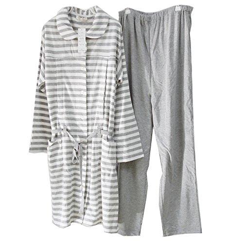 (マーシェル) Marshel かわいい マタニティ 授乳 パジャマ ロング丈 服を着たまま簡単授乳 ボーダー ライトグレー L