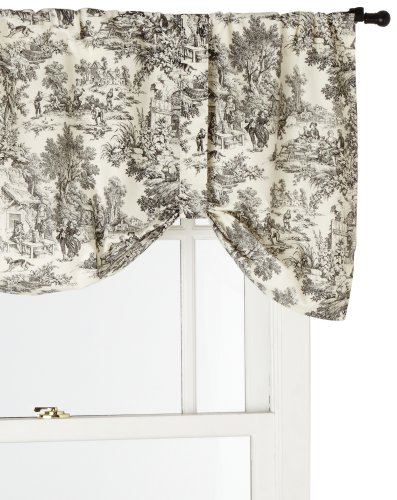Victoria Park Toile Tie-Up Valence Window Curtain, Black