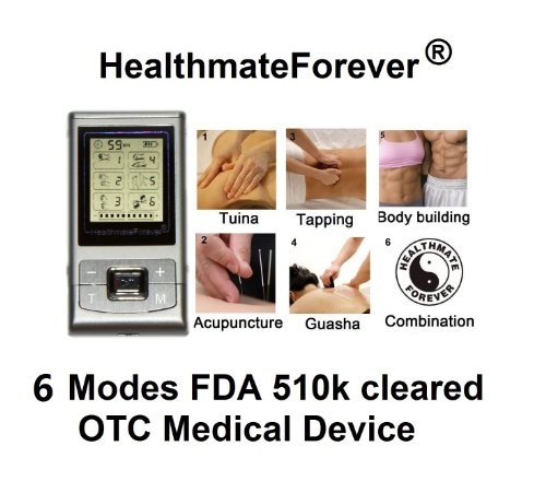 Fda Cleared Otc Healthmateforever 6 Modes, Palm Digital Full Body Mini Micro Hand Free Rechargeable Massager Device Machine Unit. 4 Pads On Body At Same Time. Fda Cleared Device, Healthmate Forever Nk6G Silver Lifetime Warranty