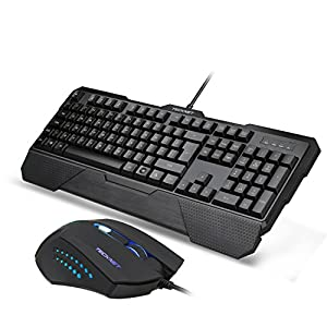 Tecknet Premium Kraken 3 LED Illuminated Gaming Keyboard & Mouse Combo - Ultimate Adjustable Backlit Gamers Keypad, Heavy Duty, Ergonomic & Water-Resistant Design For Maximum Precision & Comfort