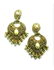 Ethnic Fashion Earrings With Pearl And Coloured Crystals In Golden Finish, Pearl - B00NZBPYT8