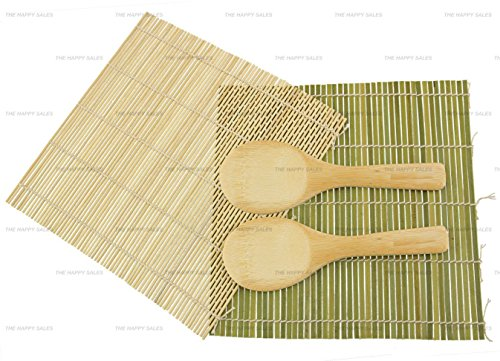 Happy Sales Handmade Bamboo Sushi Mat & Paddle (2 mats & 2 paddles)