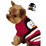 Zack & Zoey Piggy Back Pals With Dog Sweater And Hat Set, Small/Medium, Penguin