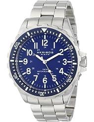 Akribos XXIV Men's AK689BU Essential Swiss Quartz Blue Dial Silver-tone Stainless Steel Bracelet Watch