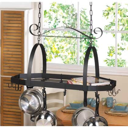 Home Kitchen Ceiling Mounted Pot And Pans Lid Iron Rack Hanging Holder Home Bar storage Shelf Hooks Decorative