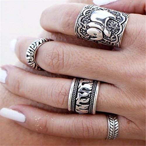 Sunscsc Alloy Vintage Retro Silver Plated Elephant Joint Knuckle Nail Ring Set, Pack of 4 (Elephant Rings For Women compare prices)