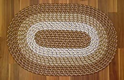 BROWN BRAIDED OVAL ACCENT RUG TRI-COLOR REVERSIBLE 18\