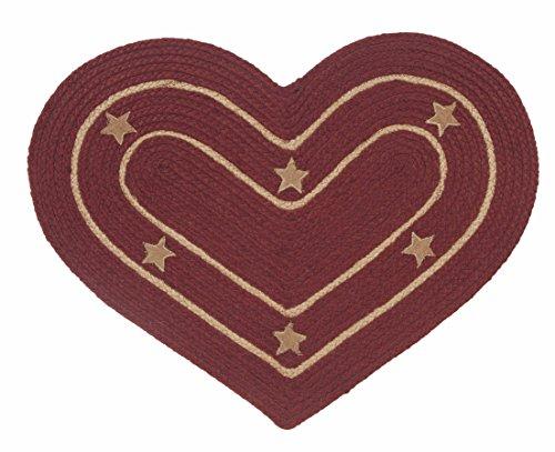 IHF Home Decor New Burlap Star Wine Design Braided Heart Rug Jute Area Rugs 20 Inch x 30 Inch Carpets