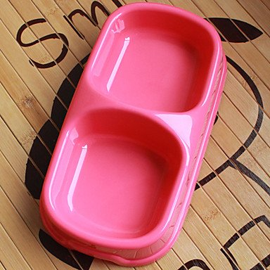 Zcl Plastic Pet Food Double Bowl For Dogs Cats (Assorted Color,22 X 12 X 5Cm) , Blue
