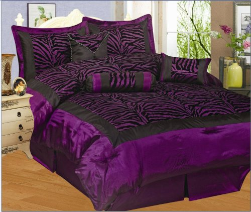 5 Pieces Twin Size Flocking Zebra Comforter Set Purple Black Bed In A Bag front-993897