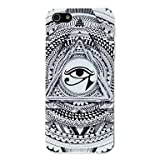 CeeMart Black and White Triangular Eye Pattern PC Hard Case for iPhone 5/5S