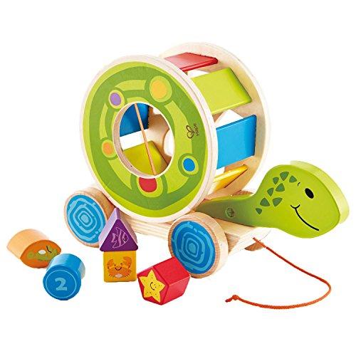 Hape-Shape-Sorter-Turtle-Wooden-Pull-Along-Toy-5-Shape-Blocks