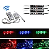 iJDMTOY 4pcs RGB Multi Color LED Motorcycle Ground Effect Light Kit w  Wireless Remote Control