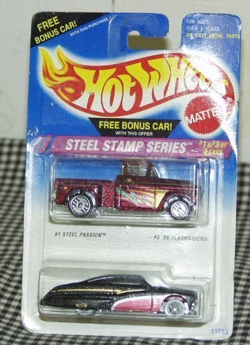 Hot Wheels Steel Stamp Series 1:64 Scale Die Cast Cars #1 Steel Passion #3 '56 Flashsider - 1
