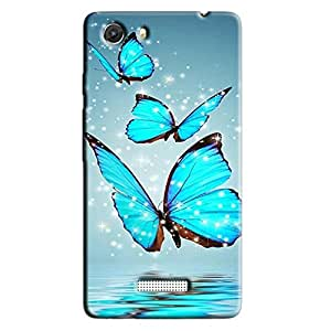 BLUE BUTTERFLIES BACK COVER FOR MICROMAX UNITE 3