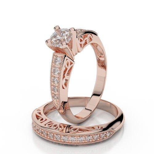 18 KT Rose Gold 0.39 Ct Diamond Wedding Bridal Ring Set
