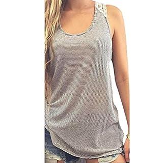 Ularmo Frauen-Sommer-Spitze-Weste-Spitze Kurzarm Bluse Lässige Tank-Tops T-Shirt (L)