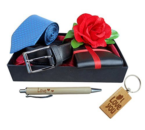 TIED RIBBONS belt, wallet, rose, tie, pen and keychain gift set for husband, boyfriend