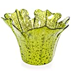 Green Glass Flower Tealight Holder
