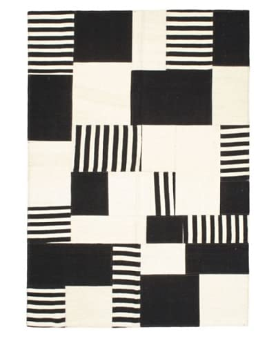 Hand Woven Moldovia Patch Wool Kilim, Black/Cream, 4′ 8″ x 6′ 8″ As You See