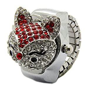 E-Future Alloy Clamshell Style Rhinestone Red Fox Unisex Quartz Ring Watch
