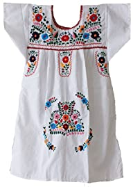 Mexican Puebla Dress Youth Girls, Whi…