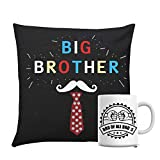 Giftsbymeeta Black Cushion With Bros of Bros Mug Rakhi Gifts For Brother RAKHIGIFTS9144