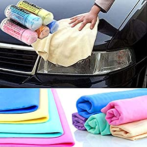 The Wolf Moon ® Small Chamois Towel with Bucket, Synthetic Chamois Clean Towel Rag Cloth Drying(40x30cmx0.2) with free Microfiber car Wash Mitt for Car Drying and Household Cleaning