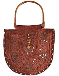 Dhuhal Bags Cotton Handbag (Maroon)