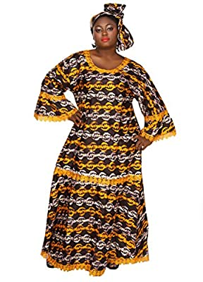 African Planet Women's Ankh Style Wax Dress Kitenge Inspired Elastic Waist Maxi