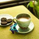 ExclusiveLane Studio Pottery Glazed Ceramic Cup & Saucer Set In Emerald Green- For Kitchen / Dinning Ware