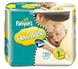 #8: PAMPERS Windeln New Baby Größe 1 newborn (2-5 kg) – Pack 1 x 27 Windeln + Feuchttücher Sensitive (x 224) – Bonus-Pack 4 x 56