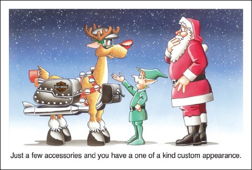Harley Davidson Christmas Cards, Santa and Custom Reindeer, Pack of 10 with envelopes