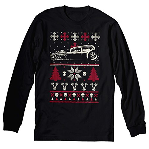 GearHead Hot Rod Christmas - CAR - Sweater Style LONG SLEEVE T-shirt - Black (Hot Rod Cars compare prices)