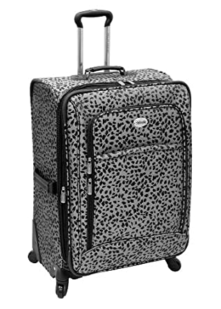 "Amelia Earhart Luggage Safari 360 Collection 20"" Expandable Upright, Silver/Black Jacquard, 20-Inch"
