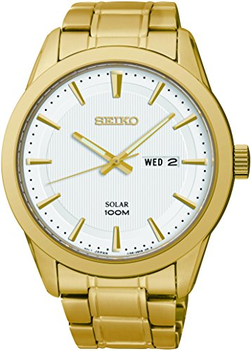 Seiko Solar Sne366 Mens Wite Dial Stainless Steel Gold Tone Watch