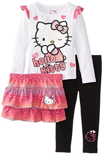 Hello Kitty Little Girls' Skirt Set 3 Piece, White, 3T front-912115
