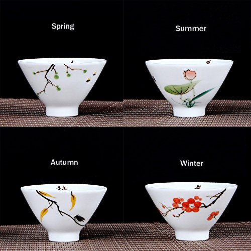 XDOBO Ceramic Tea Set Chinese Traditional Kiln Ceramics Vintage China Style Porcelain Kung Fu Tea Cups - Set of 4 (Season Whiteware)