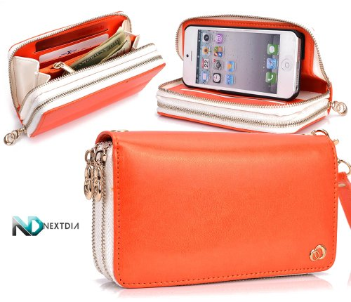 Special Sale Apple iPhone 5 Runway Clutch/Purse by KroO [Orange] Smartphone Case/Wallet with Attachable Wristlet and a Complimentary NextDia ™ Velcro Cable Strap