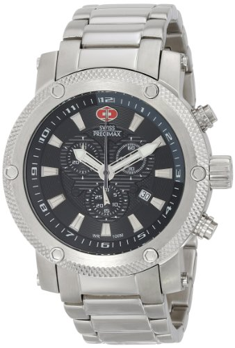 Swiss Precimax Men's Volt Pro SP13083 Silver Stainless-Steel Swiss Chronograph Watch with Black Dial